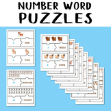 Number Word Puzzles Match Game Dogs Jigsaw Number 1-20 Counting Objects to 20