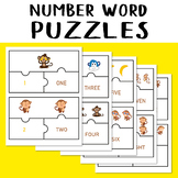 Number Word Puzzles Match Game Monkey Jigsaw Number 1-10 Counting Objects to 10