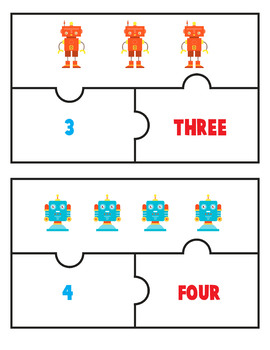 Number Word Puzzles Match Game Robot Jigsaw Number 1-10 Counting Objects to 10