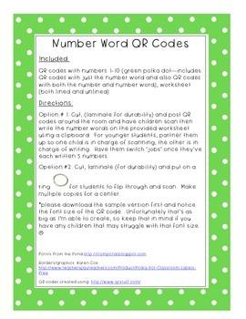 Number Word QR Codes
