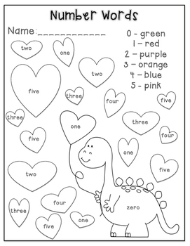 Number Word Recognition-Valentine's Day