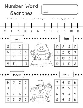 Number Word Search : Groundhog Day