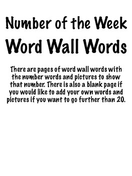 Number Word Wall Words