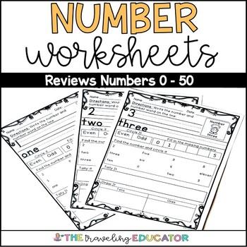 Number Word Worksheets 1-50