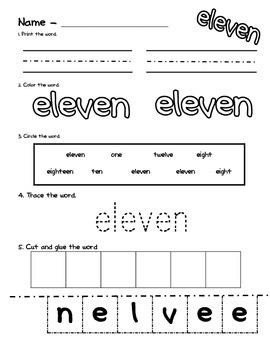 Number Word Worksheets 11-20