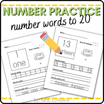 Number Word Writing Practice - write, draw, color, recognize