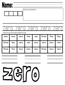 Number Word Writing, Reading and Spelling 0-10