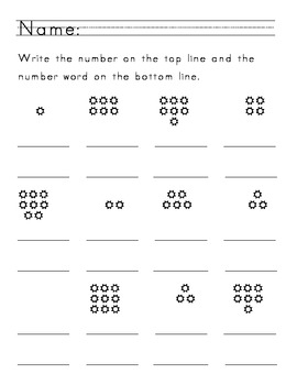 Number & Word Writing Worksheets