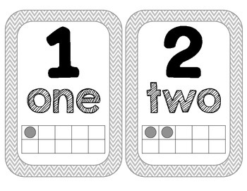 Number Word and Visual Posters {Gray Chevron}