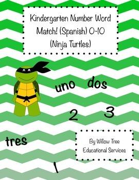 Number Word match 0-10 (Ninja Turtle Theme) Spanish!