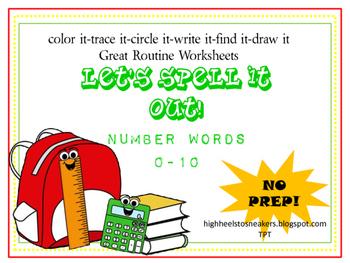Number Words- 0-10 No Prep