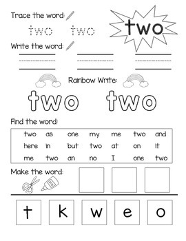 Number Words 0-10 Practice