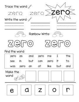 Number Words 0-10 Practice