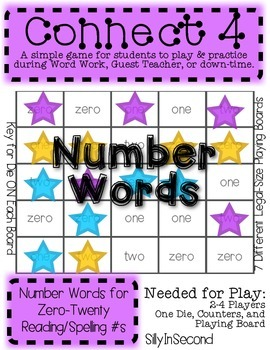 Number Words 0-20 Connect 4