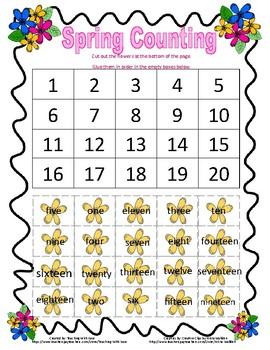 Spring Number Words 1-20