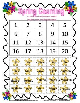 Spring Number Words 1-20