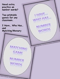 Number Words 1-20 - Games (I Have... Who Has... & Memory/Matching)