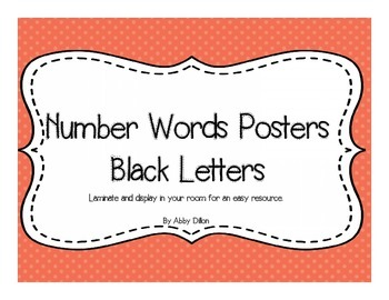 Number Words (1-20) Posters with Black Lettering