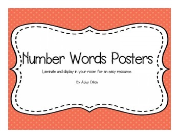 Number Words (1-20) Posters with White Lettering