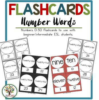 Number Words 1-52 {44 Flashcards & Games} ESL Adults & Grades 4-6
