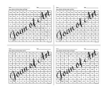 Number Words 1 to 10 Worksheet (Kindergarten)