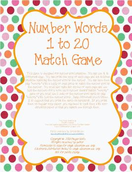 Number Words 1 to 20 Matching Game