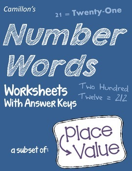Number Words Worksheets with Answer Keys