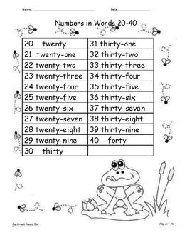 Number Words 20-40