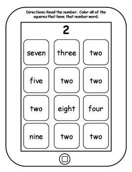 Number Words Printable Tablets
