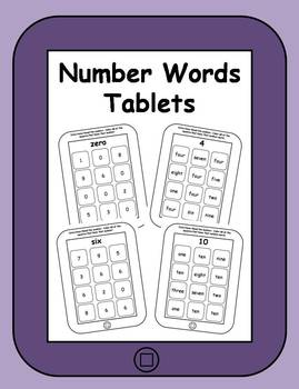 Number Words Printable Tablets
