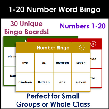 Number Words Bingo 1-20. Up to 30 players!