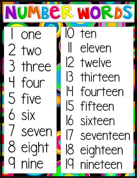 Number Words in Bright Colors