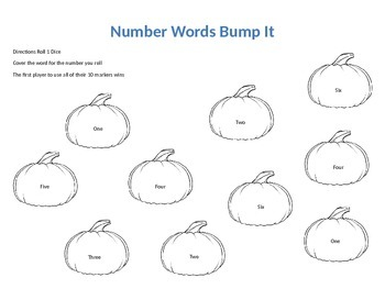 Number Words Bump It Game