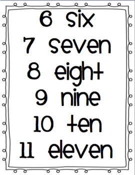 Number Words Chart