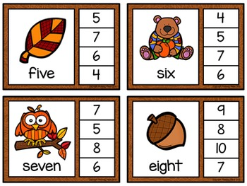 Number Words Clip Cards: Autumn Fun (Numbers 1-20)
