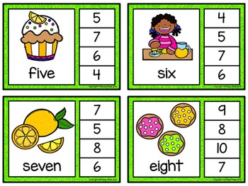 Number Words Clip Cards: Lemonade Stand (Numbers 1-20)