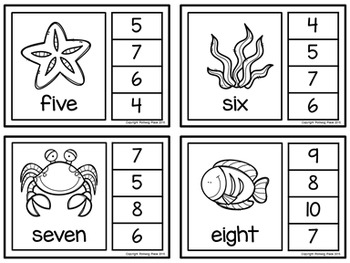 Number Words Clip Cards: Sea Life (Numbers 1-20)