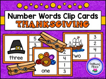 Number Words Clip Cards: Thanksgiving (Numbers 1-20)