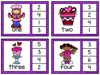 Number Words Clip Cards: Valentine's Day (Numbers 1-20)