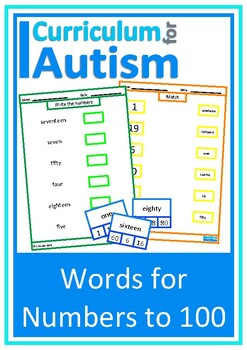 Words for Numbers to 100, Match & Write, Autism  Special Education