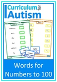 Words for Numbers to 100 Match Autism Special Education