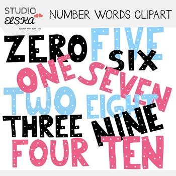 Number Words Clipart (Word art) - Studio ELSKA