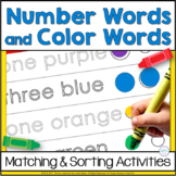 Number Words and Color Words Sorting & Matching Activities