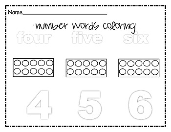 Number Words  Coloring 4-6