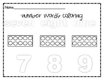 Number Words Coloring 7-9