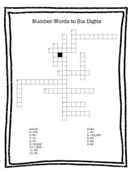 Number Words Crossword