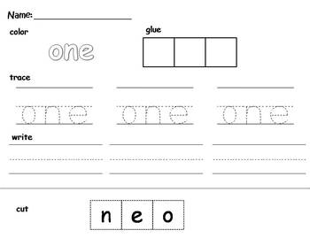 Number Words: Cut, Glue, Trace and Write