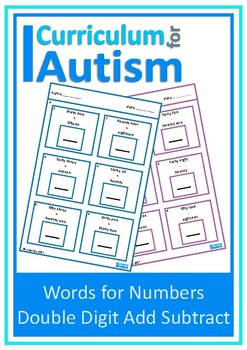 Add Subtract Number Words Double Digit Autism Special Education