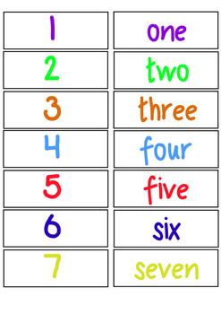 Number Words File Folders