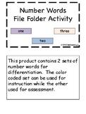 Number Words File Folder Activity